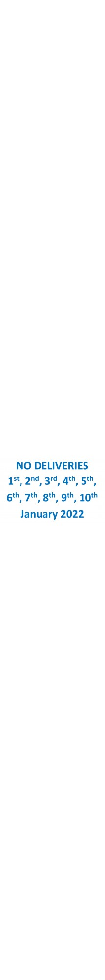 No Deliveries Jan 1 2 3 4